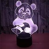 Luces nocturnas 3D Lámparas de mesa LED Luces de ilusión Panda y oso 7 colores Led para niños Tocando Mesa USB principal Bebé durmiendo Barco cayendo