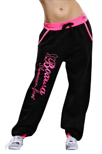 CRAZY AGE Miss 21 Chick Rebelle Melis Fashion Damen Hose Haremhose Pumphose Sporthose Baggy Haremhose Jogginghose Fitnesshose S M L (S, BXUSA BLK PK)