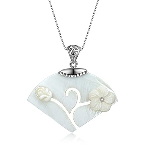 City Ouna® White Shell Women Jewelry Fan Drop Hollow Out Flower Pendant Necklace with 925 Silver Chain-46.5CM(18.3