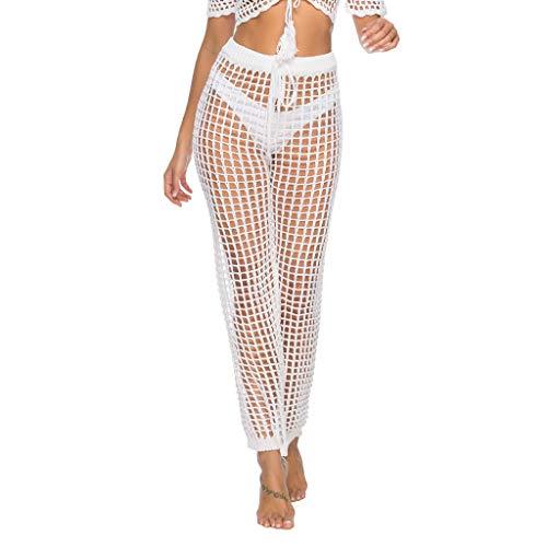 HOT1950s Damen-Badeanzug, durchsichtig, Netzstoff, Strand-Abdeckung, Hose, Bikini-Hose, sexy, hohl, gehäkelt, hohe Taille, Netzstoff, Bademode, Spitze, Haremshose Gr. M, weiß -