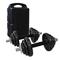 Todeco - Dumbbell Set, Adjustable Weight Set - Bar material: Chrome steel - Handle material: Natural rubber - Black, with Black case, Cast iron, 44 lbs