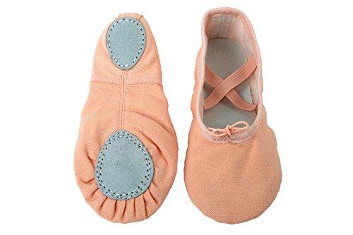"""Tante Tina - Ballettschläppchen """"Lara"""" aus Leinengewebe - Ballerina Ballettschuhe - Lachs - Gr. 34"""
