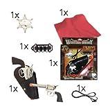 Cowboy Set Western Fasching Karneval Kostüm für Erwachsene und Revolver Pistole silber, Abzeichen, gürtel, Munition Holster Pistolenholster Revolverholster Munitionsgürtel Patronen