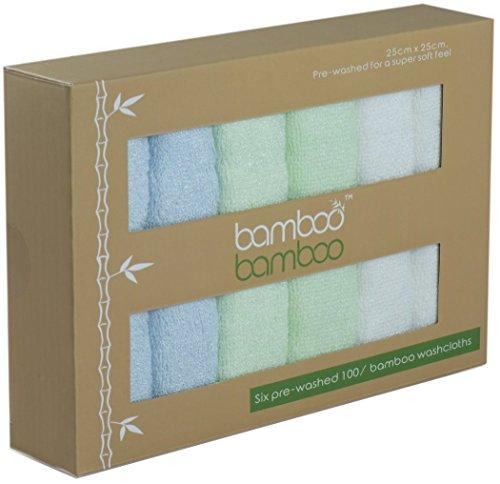 Bambù organico Premium riutilizzabile asciugamani naturalmente ipoallergenico antibatterico e Ultrasoft | 6Pack 25,4x 25,4cm ideale per pelli sensibili ideale per regalo