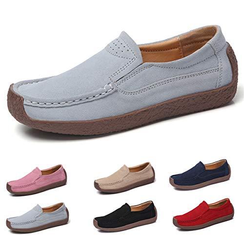 AARDIMI Mokassins Damen Bootsschuhe Loafers Halbschuhe Casual Fahren Schuhe Wildleder Slip on Slipper Erbsenschuhe (37 EU, Grau)
