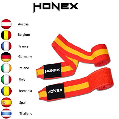 Honex - Vendas para Manos, para Boxeo, Extensibles, de Estilo Mexicano, de 4 Metros, con diseño de la Bandera de España, Boxeo y Artes Marciales, Muy Suaves y duraderas, Unisex, 1 par