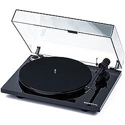 Pro-Ject Essential III audiophiler Tocadiscos con brazo + Ortofon pastilla om10+ trenza + cubierta protectora de polvo–Color negro brillante