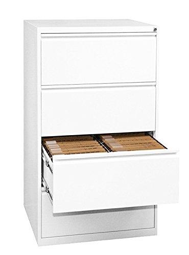 Profi Stahl Büro Hängeregistratur weiß Schrank Bürocontainer 1320 x 760 x 620mm (HxBxT) mit 4 Schüben, doppelbahnig 561427 weiss kompl. montiert und verschweißt - Stahl-schrank-container