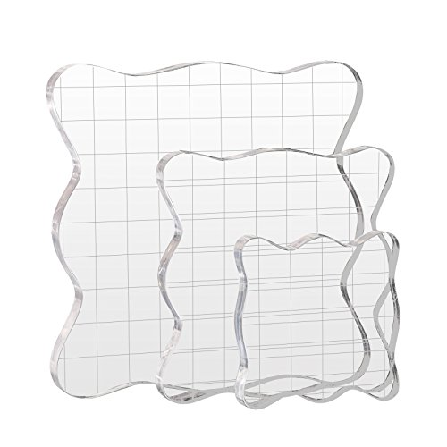 Kesote 3 Stück Stempelblock Set Acrylblock mit Gitter für Scrapbook Fotoalbum, Transparent -