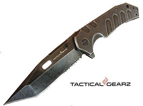 Lightning Deal!! Factory Sale! TacticalGearz Premium EDC Folding Knife, Black Stonewashed, 440c Stainless Steel Blade