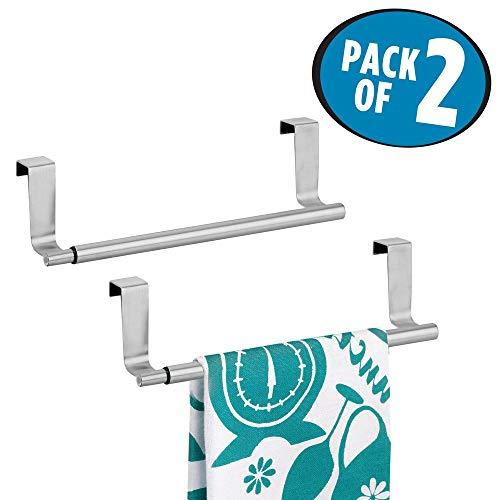 mDesign Juego de 2 Barras telescópicas para Toallas de baño - Toallero Extensible de Acero para Colgar de la Puerta de los Muebles - Toalleros de Cocina para Dos paños - Plateado