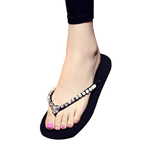 YOUJIA Femmes / Filles été Chaussures de plage Casual Tongs Sandales Ornementé #3 Transparent