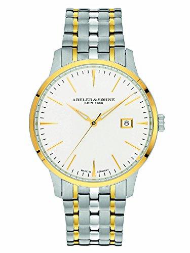 Abeler & Söhne fabricado en Alemania Reloj de hombre con correa de acero inoxidable, cristal de zafiro y fecha as3023m