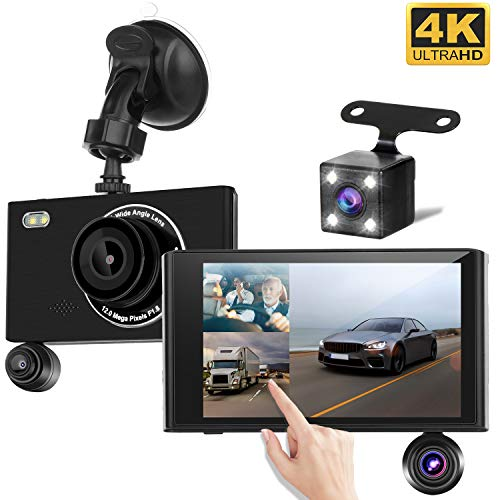 """Yakola X5 (3Lens) Dashcam Rückfahrkamera,Ultra 1080P Full HD, 4,3\"""" IPS Touchscreen, Dual LED Nachtsicht, Vorne, hinten, Innere Autokamera, 430°Parküberwachung, Bewegungserkennung, G-Sensor"""