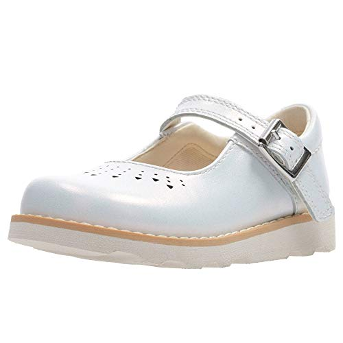 Clarks Leder Mary Janes (Clarks Crown Jump Girls Mary Jane Shoes 8,5 G Weißes Interesse)