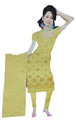 Rps Globe Traditional Beautiful and Attractive Light yellow Color Cotton Unstiched Salwar...