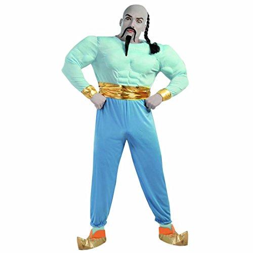 Costume da genio della lampada Vestito da Jinn con muscoli L 52/54 Outfit di carnevale orientale Abito maschile stile Le mille e una notte Travestimento muscoloso da genio di Aladin Mascheramento