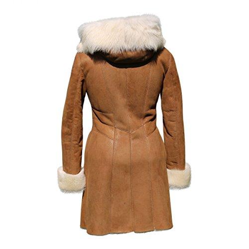 Lammfelljacke - MAGDALENA Damen Merino Felljacke Lederjacke Winterjacke mit Kapuze Size L, Color Cognac - 3