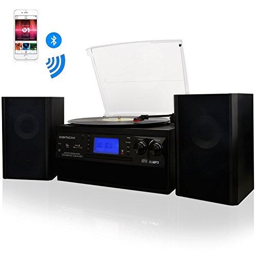 DIGITNOW! Tocadiscos Bluetooth Plato Giradiscos Plato Vinilo, CD, Cassette, Encoding, USB, SD, MMC, AM, FM, 3 velocidades, 33/45/78 RPM,con dos externo altavoces