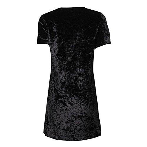 TiaoBug Femme Robe D'été Imprimé Manches Courte T-shirt Velours Cocktail Mini Robe Casual Noir