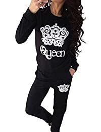 Chándal para Mujer Corona Impresión Conjuntos Casual Sweatshirt Sudadera + Pantalones Deportivo Negro S