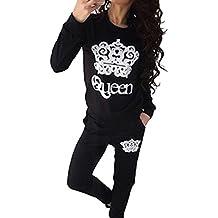 Moollyfox Chándal para Mujer Corona Impresión Conjuntos Casual Sweatshirt Sudadera + Pantalones Deportivo ...