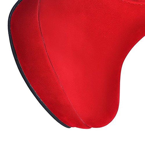 VogueZone009 Donna Alta Altezza Tirare Tacco Alto Punta Tonda Stivali con Chiodato Rosso