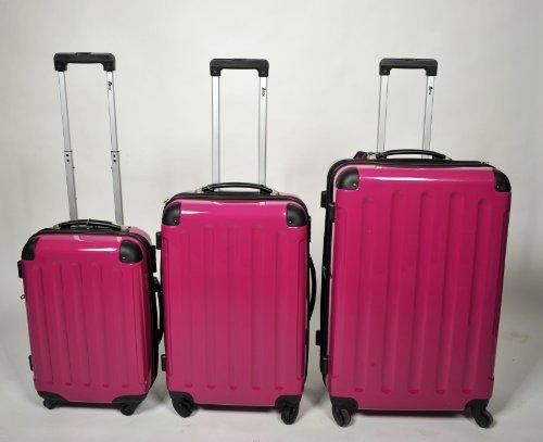 3 teiliges oder Einzeln M L XL Polycarbonat / ABS Trolley Koffer Bordcase Set Hartschale Reisekoffer Kofferset 4 Rollen (3er Set, Pink)