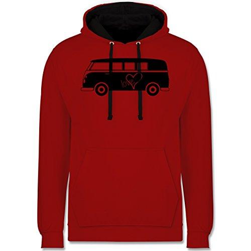 Autos - Bus T1 - Kontrast Hoodie Rot/Schwarz
