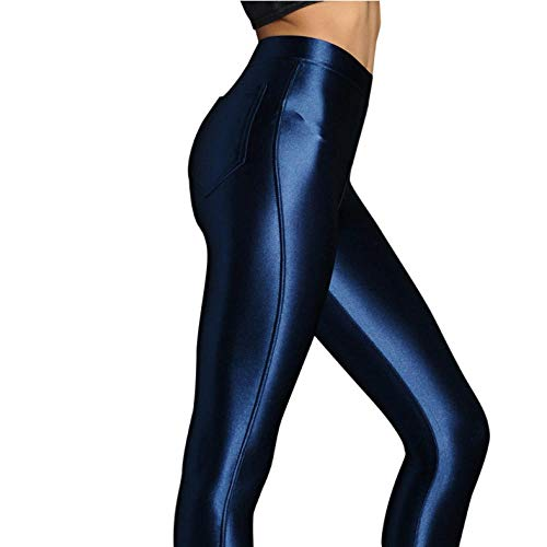 ZEEKYLY Damen Hochglanz Yoga Hosen Stretch Sport Leggings Yoga Athletic Hosen Damen Enge Legging Hosen-S