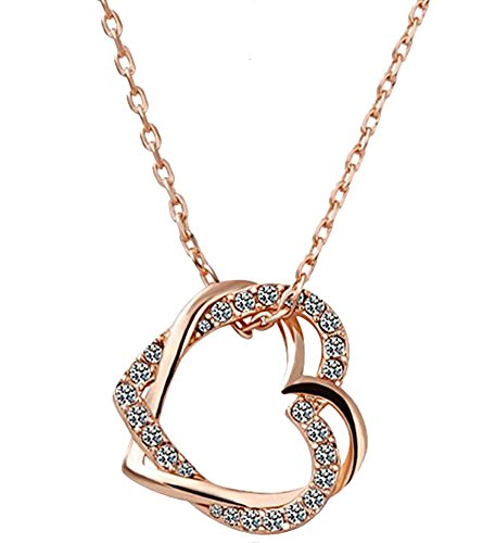 Kaizer Jewelry Embracing Hearts-In-Love 18K Rose Gold Plated Austrian Crystal Pendant For Women