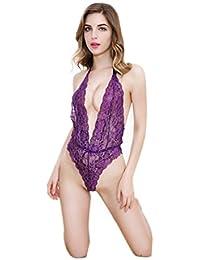 SMARTLADY Encaje interior Pijamas Bodies con máscara del Encaje para Mujer
