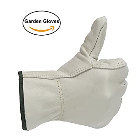 OZERO Work Gloves, Leather Gardening Glove with Elastic Wrist - Soft & Flexable for Driving/Repairing/Home/Gardening/Infrastructure/Construction - Perfect Fit for Men & Women - White/1 pair