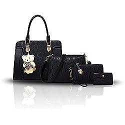 Tisdaini Nuevo bolso de la madre de la manera del bolso de las señoras cuatro sistemas de paquete salvaje de la tarjeta del oso del hombro de los bolsos