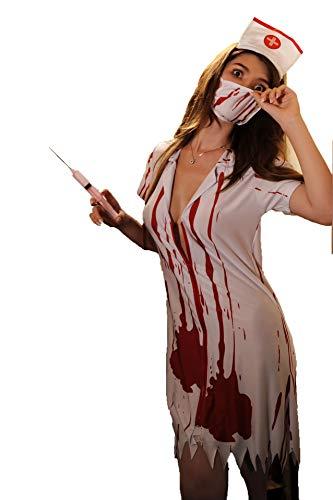 Boowhol Vampirin Krankenschwester Kostüm Cosplay Spiel Uniform Halloween Erotische Unterwäsche Ghost Nurse (Vampir Krankenschwester Kostüm)