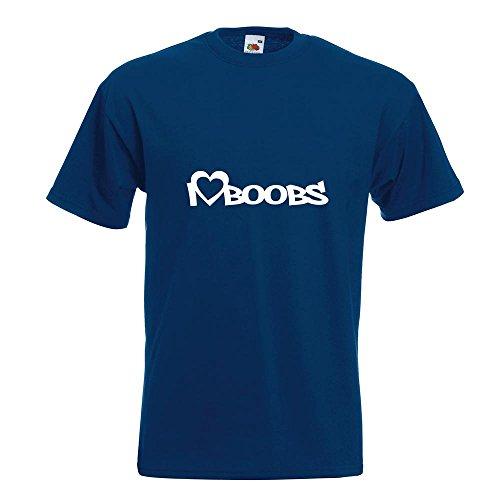 KIWISTAR - I Love Boobs T-Shirt in 15 verschiedenen Farben - Herren Funshirt bedruckt Design Sprüche Spruch Motive Oberteil Baumwolle Print Größe S M L XL XXL Navy
