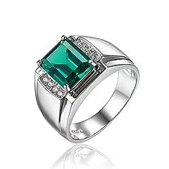 Idea Regalo - JewelryPalace Gioiello Uomini 2.7ct Lusso Anello Nano Russo Artificiale Smeraldo Anniversario di Matrimonio Argento Sterlina 925