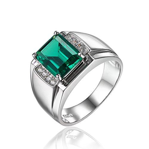 Jewelrypalace Herren Luxus 2.7ct Simulierte Nano russischen Smaragd-Jahrestags-Hochzeits-Ring echt 925 Sterling Silber