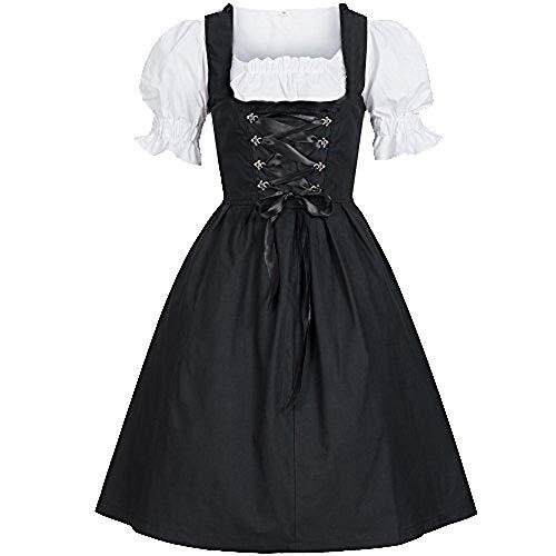 RISTHY Deutsches Dirndlkleid für Damen Traditionelle Bayerische Oktoberfest-Kostüme für Halloween-Karneval (Billig Kostüme Für Halloween 2019)