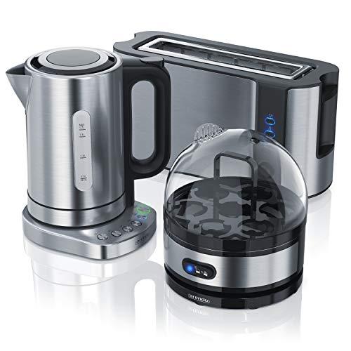 Arendo - Edelstahl Wasserkocher + Basisstation mit Temperatureinstellung + Edelstahl 1000W Toaster + Edelstahl Eierkocher für 1-7 Eier
