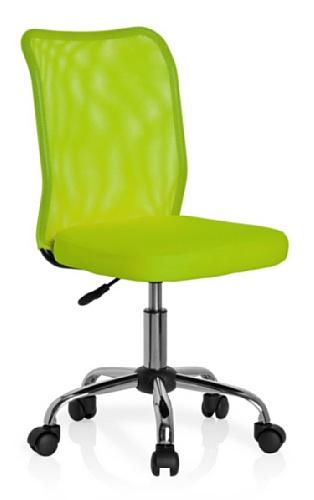 HJH Office 685972 chaise de bureau enfant, chaise junior KIDDY NET vert sans accoudoirs, dossier en tissu maille respirant, piètement stable en acier chromé, assise en tissu, réglable en hauteur