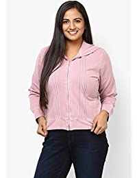 GRAIN Pink Regular Collar Full Sleeves Cotton Jackets for Women
