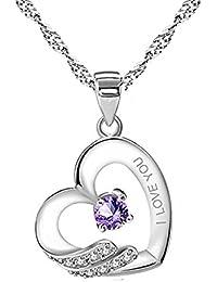 """Argent 925/1000-Violet-&multiples Blanc zircones """"I LOVE YOU"""" avec pendentif coeur pour femme"""