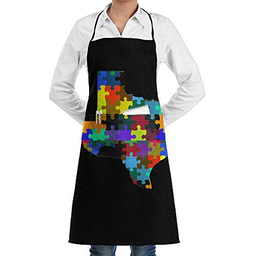 Jxrodekz Unisex Long Aprons Texas TX Puzzle Pieces Map Internet Cafes Sleeveless Anti-Fouling Overalls with Pocket