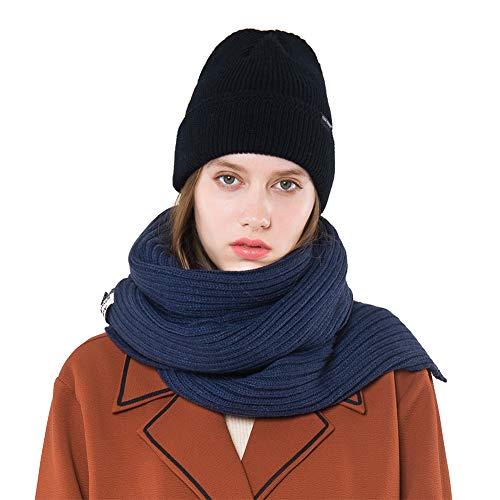 Aisoway Winter-Thick Cable Knit Wrap Chunky langer Schal Herbst Winter Unisex Frauen Warm-Schal-Schal (Marine-Blau) -