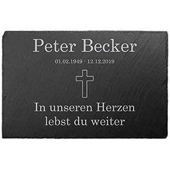 Grabplatte Schiefer- Stein 30 x 20 cm  DS-100 Text Gravur Grabstein Foto