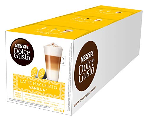 NESCAFÉ Dolce Gusto Latte Macchiato Vanilla | 48 Kaffeekapseln | Feines Vanille Aroma und leckerer Milchschaum | Arabica Robusta Mischung | Aromaversiegelte Kapseln | 3er Pack (3 x 16 Kapseln) -