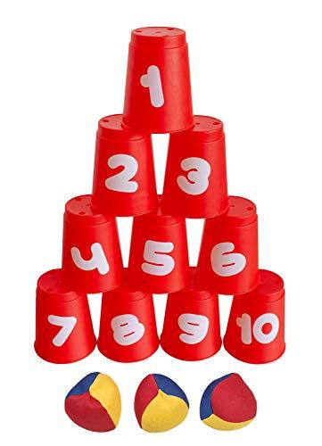 Idena 40416 - Ballwurfspiel mit 10 Bechern und 3 Bällen, ab 3 Jahren, für Geburtstagsfeiern, im Garten oder Park