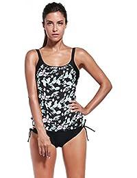 Bañadores Deportivas Mujer,Xinan La Impresión Tankini Set Push-up con Relleno del Bikini