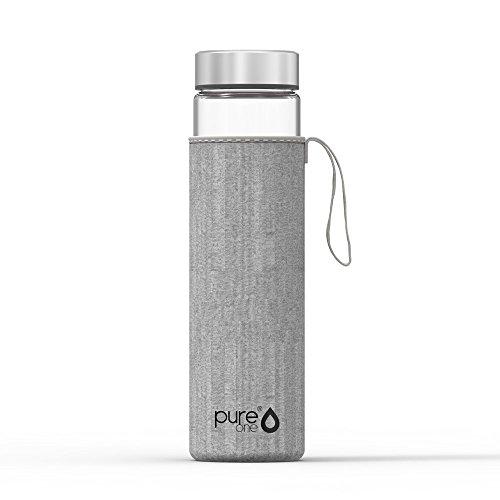 PureOne Trinkflasche aus Borosilikat-Glas 750ml | BPA, BPS, Weichmacher-Frei | Hitzebeständig - Für Heißgetränke, Tee, Smoothies | Ideal für Sport, Wandern, Yoga, Büro | Neopren-Schutzhülle